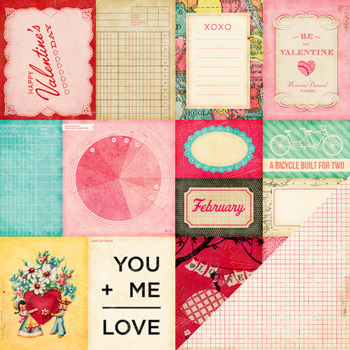 American Crafts - Crate Paper - Fourteen Collection - 12 x 12 Double Sided Paper - Accent Cuts