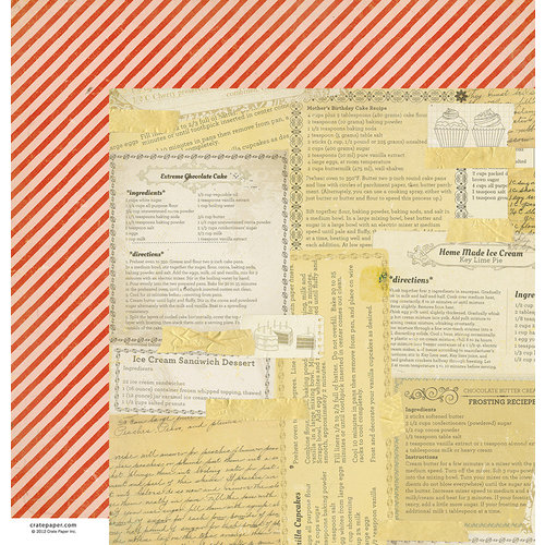 American Crafts - Crate Paper - Party Day Collection - 12 x 12 Double Sided Paper - Cake Batter