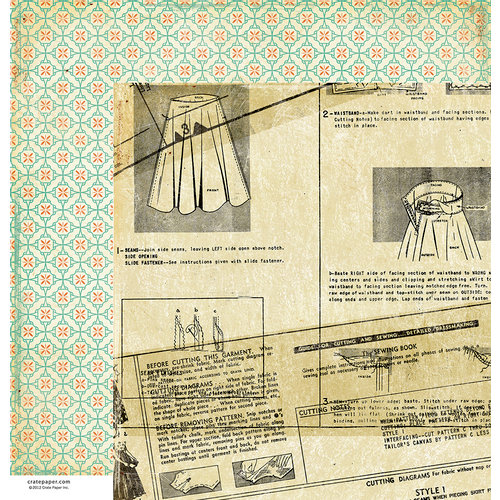 American Crafts - Crate Paper - DIY Shop Collection - 12 x 12 Double Sided Paper - Vintage