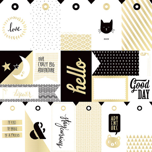 Crate Paper - Wonder Collection - 12 x 12 Paper with Foil Accents - Tags