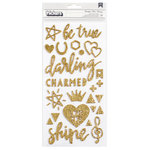 Crate Paper - Maggie Holmes Collection - Shine - Thickers - Gold Glitter - Beautiful - Gold