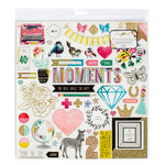Crate Paper - Maggie Holmes Collection - Shine - 12 x 12 Chipboard Stickers with Glitter Accents