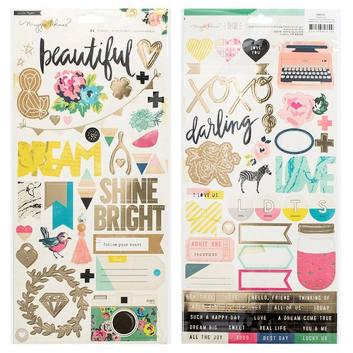 Crate Paper - Maggie Holmes Collection - Shine - Cardstock Stickers with Foil Accents
