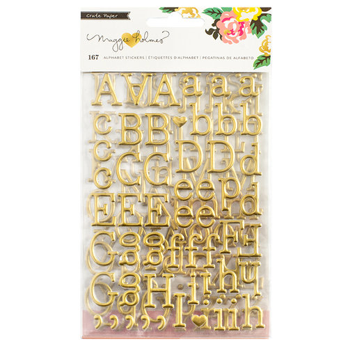 Crate Paper - Shine Collection - Puffy Stickers - Alphabet