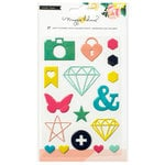 Crate Paper - Shine Collection - Puffy Stickers - Shapes