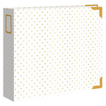 Crate Paper - Maggie Holmes Collection - Shine - Classic Leather Album - 12 x 12 D-Ring - Cream with Foil Accents