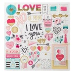 Crate Paper - Hello Love Collection - Chipboard Stickers with Foil Accents