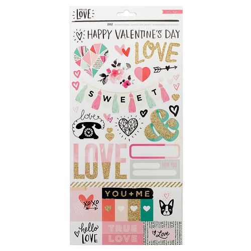 Crate Paper - Hello Love Collection - Cardstock Stickers with Glitter Accents