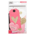 Crate Paper - Hello Love Collection - Layered Tags with Glitter Accents