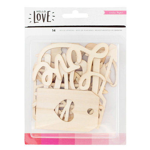 Crate Paper - Hello Love Collection - Wood Veneer Pieces