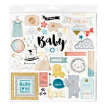 Crate Paper - Little You Collection - 12 x 12 Chipboard Stickers with Glitter Accents - Boy