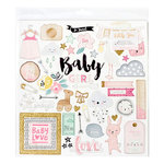 Crate Paper - Little You Collection - 12 x 12 Chipboard Stickers with Glitter Accents - Girl