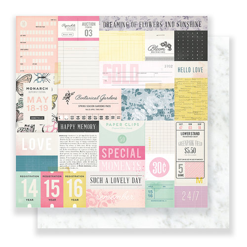 Crate Paper - Bloom Collection - 12 x 12 Double Sided Paper - Sweet Rose