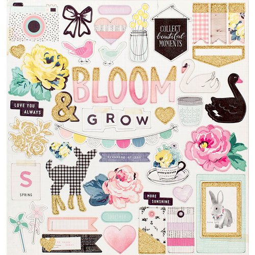 Crate Paper - Maggie Holmes Collection - Bloom - 12 x 12 Chipboard Stickers with Glitter Accents