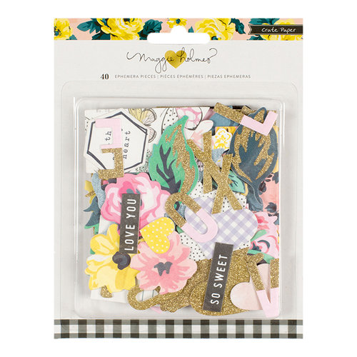 Crate Paper - Maggie Holmes Collection - Bloom - Ephemera with Glitter Accents