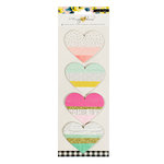Crate Paper - Maggie Holmes Collection - Bloom - Fringe Hearts with Glitter Accents