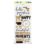 Crate Paper - Maggie Holmes Collection - Bloom - Clear Stickers with Foil Accents - Happy