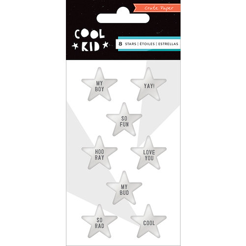 Crate Paper - Cool Kid Collection - Resin Stars - Metallic Silver