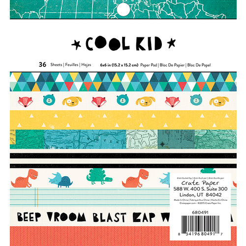 Crate Paper - Cool Kid Collection - 6 x 6 Paper Pad