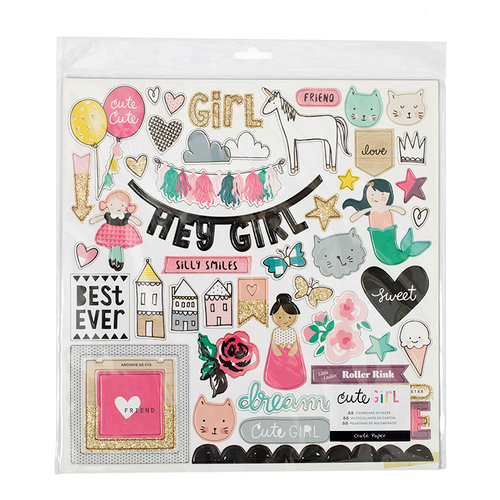 Crate Paper - Cute Girl Collection - Chipboard Stickers with Glitter Accents