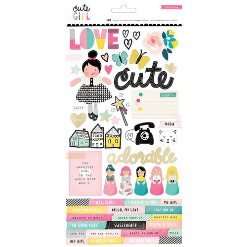 Crate Paper - Cute Girl Collection - Cardstock Stickers with Foil Accents