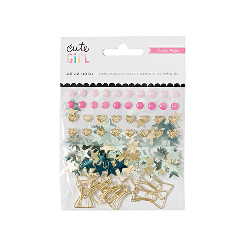 Crate Paper - Cute Girl Collection - Small Bow Embellishments