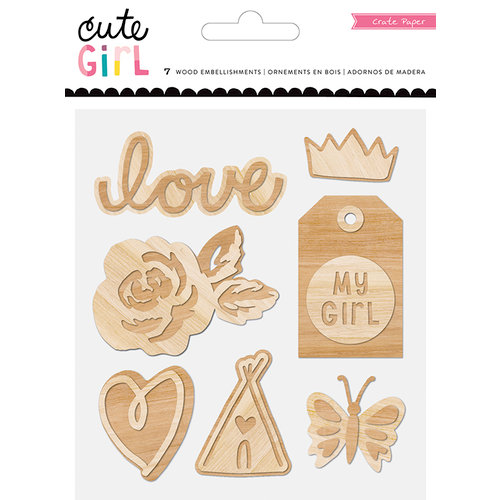 Crate Paper - Cute Girl Collection - Wood Embellishments