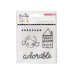 Crate Paper - Cute Girl Collection - Clear Acrylic Stamps - Mini Set