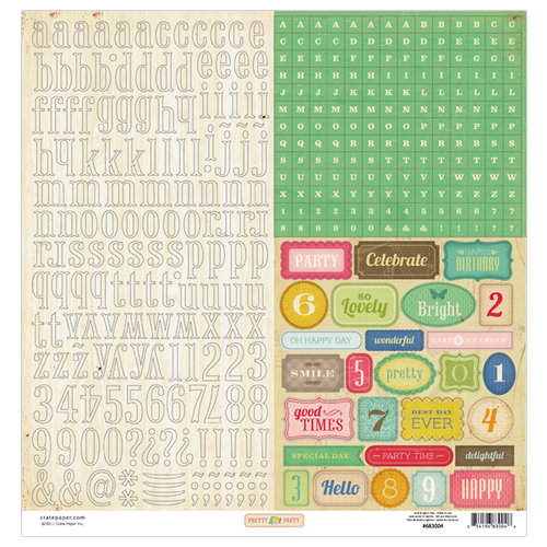American Crafts - Crate Paper - Pretty Party Collection - 12 x 12 Cardstock Stickers - Alphabet Labels