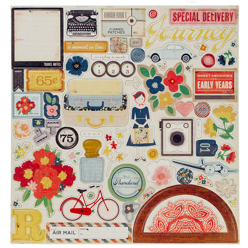 American Crafts - Crate Paper - Pretty Party Collection - 12 x 12 Chipboard Stickers - Accents