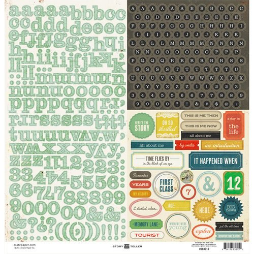 American Crafts - Crate Paper - Story Teller Collection - 12 x 12 Cardstock Stickers - Alphabet Labels