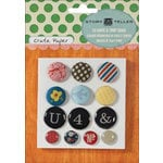 American Crafts - Crate Paper - Story Teller Collection - Fabric and Epoxy Brads