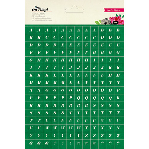 American Crafts - Crate Paper - On Trend Collection - Stickers - Mini Alphabet - Green