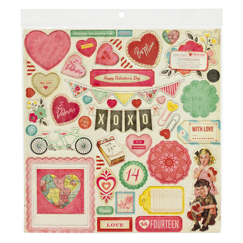 American Crafts - Crate Paper - Fourteen Collection - 12 x 12 Chipboard Stickers