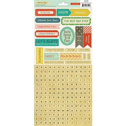 American Crafts - Crate Paper - Party Day Collection - Cardstock Stickers - Mini Alphabet