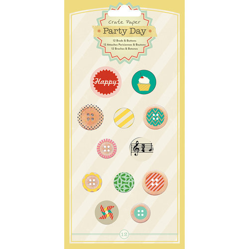 American Crafts - Crate Paper - Party Day Collection - Brads and Buttons