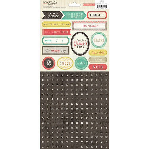 American Crafts - Crate Paper - DIY Shop Collection - Cardstock Stickers - Mini Alphabet Titles