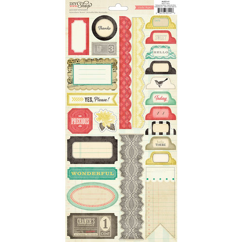 American Crafts - Crate Paper - DIY Shop Collection - Cardstock Stickers - Labels, Borders and Tabs