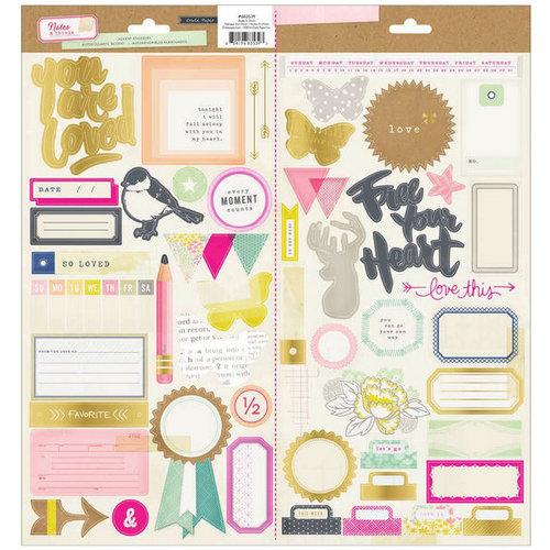 Crate Paper - Notes and Things Collection - Cardstock Stickers