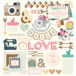 Crate Paper - Craft Market Collection - 12 x 12 Chipboard Stickers with Foil Accents