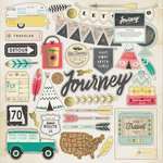 Crate Paper - Journey Collection - 12 x 12 Chipboard Stickers with Foil Accents