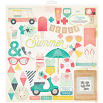 Crate Paper - Poolside Collection - 12 x 12 Chipboard Stickers with Foil Accents
