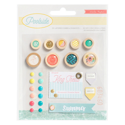Crate Paper - Poolside Collection - Layered Embellishments with Glitter Accents