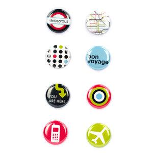 American Crafts - Flair - Travel - 8 Adhesive Badges - Bon Voyage