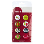 American Crafts - Flair - Christmas - 8 Adhesive Badges - Joy