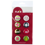 American Crafts - Flair - Christmas - 8 Adhesive Badges - Noel, CLEARANCE