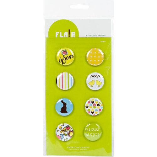 American Crafts - Flair - Backyard - 8 Adhesive Badges - Peep, CLEARANCE