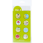 American Crafts - Flair - Backyard - 8 Adhesive Badges - Picnic, CLEARANCE