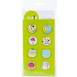 American Crafts - Flair - Backyard - 8 Adhesive Badges - Picnic, CLEARANCE