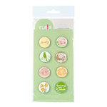 American Crafts - Botanique Collection - Flair - 8 Adhesive Badges - Lovely, CLEARANCE